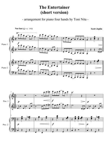 All the chords written down. The Entertainer (short Version) - Piano Four Hands By Scott Joplin (1868-1917) - Digital Sheet ...