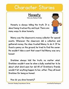 Reading Comprehension Worksheet Honesty