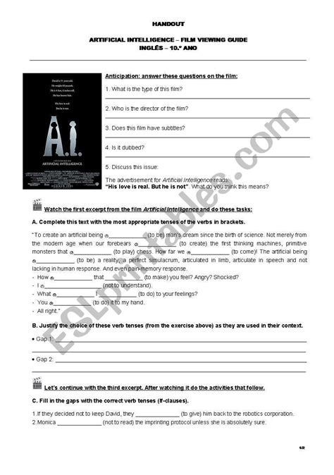 Artificial Intelligence film viewing guide - ESL worksheet