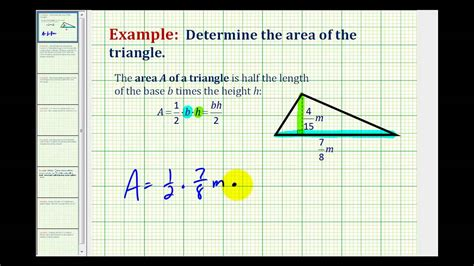 Example Area Of A Triangle Involving Fractions Youtube