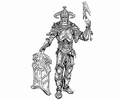 Skyrim Coloring Pages Elder Armor Orc Scrolls