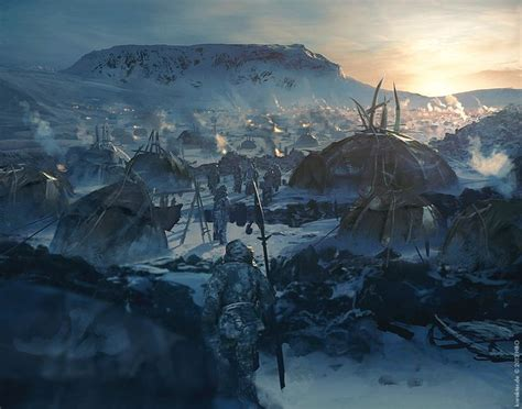 wildling encampment game  thrones season  concept art