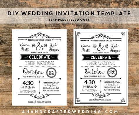diy black rustic wedding invitation templates sles