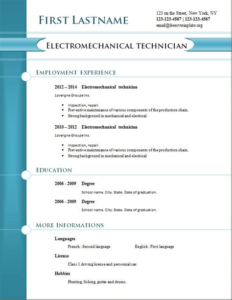 new resume templates free free cv templates 254 to 260 free cv template dot org