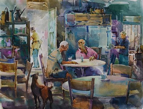 Coffee shop painting french cafe original 18 x 24 oil painting by. Singapore Watercolour Oil Painting Ng Woon Lam nws awsdf df