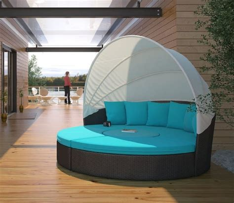 circular outdoor wicker rattan patio daybed with canopy