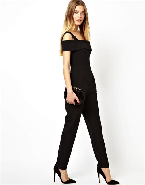 asos jumpsuit asos jumpsuit with one shoulder in black lyst