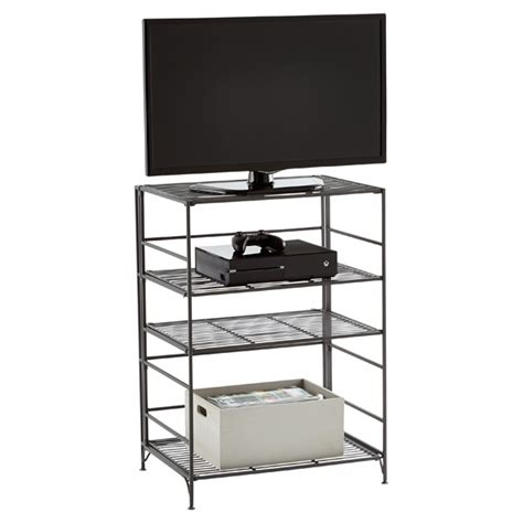 Iron Bookcases by 4 Shelf Iron Folding Media Center The Container Store