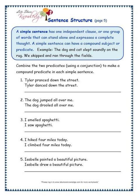 sentence structure worksheets  grade worksheets master