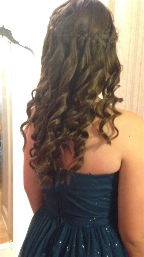 waterfall braid around the head with curls i did this for