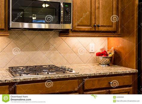Nice Granite Countertop With Gas Range Stock Image  Image