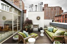 Roof Terrace With Outdoor Fireplace Teak Furniture And A Container The Stairs Within The Courtyard Lead To The West Facing Roof Garden Next To The Door I Made This DIY Extra Large Chalkboard To Write Dream House Patio Backyard Him Outdoor Spaces Garden Design