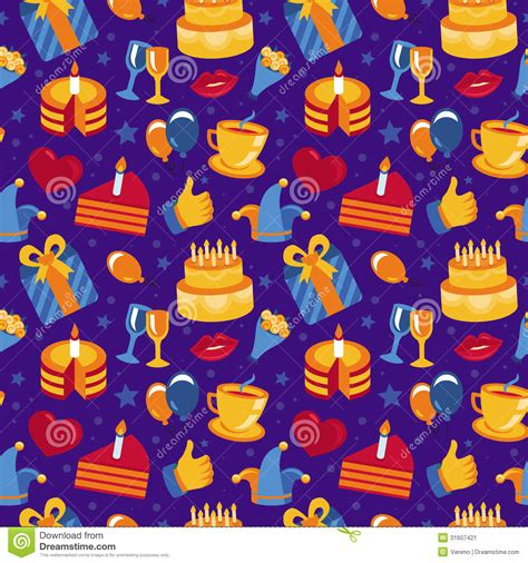 vector seamless pattern with icons and signs stock