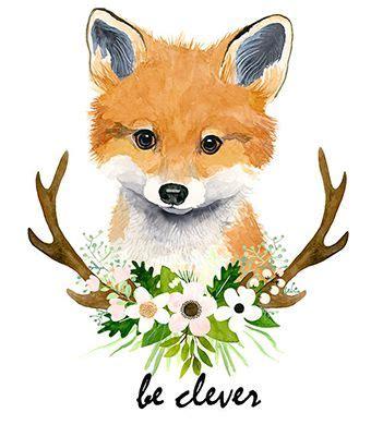 watercolor fox cub baby fox animal paintings fox