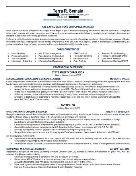 Aml Compliance Analyst Resume Sle by Terra Semaia Aml Resume 2016 V2 Redacted