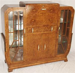 Art Deco Burr Walnut Cocktail Cabinet