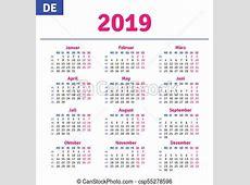 Niemiec, kalendarz, 2019 Niemiec, wektor, 2019, ruszt