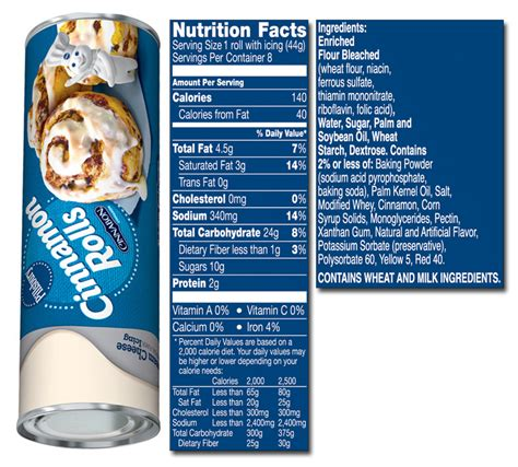 This link is to an external site that may or may not meet accessibility guidelines. 32 Cinnamon Rolls Nutrition Label - Labels Database 2020
