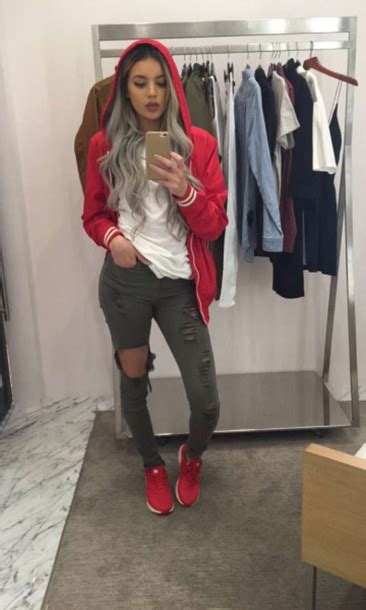 Jacket shirt jeans shoes baddies bag swag coat outfit idea red jacket hoodie ripped ...