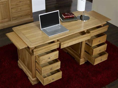le de bureau bois bureau ministre 9 tiroirs en chêne massif de style louis