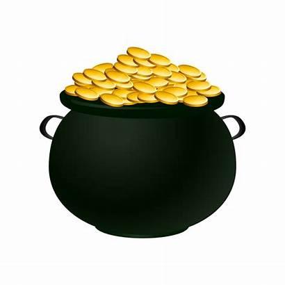 Pot Gold Clip Clipart Cauldron Empty Cliparts