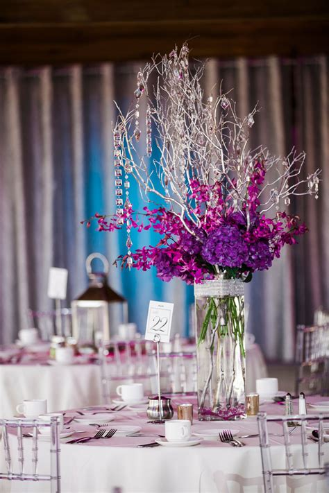 silver manzanita branch wedding centerpiece