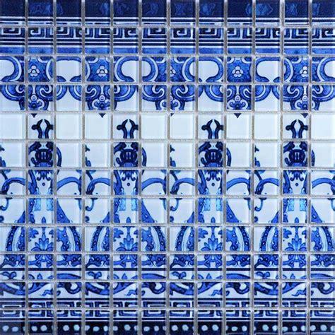 crystal glass tile blue  white puzzle mosaic tile