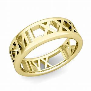 custom legacy roman numeral wedding ring band in 18k gold 7mm With roman numeral wedding ring
