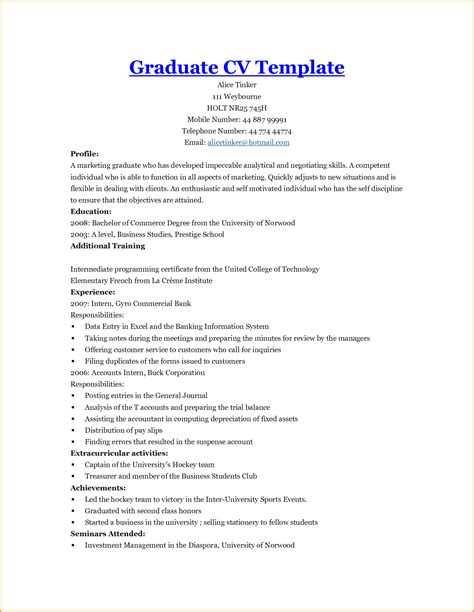 Graduate Cv Template by 26 Images Of Curriculum Vitae For Graduate School Template