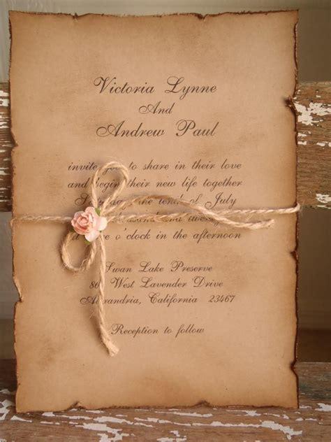 woodland vintage kraft blush pink wedding invitation