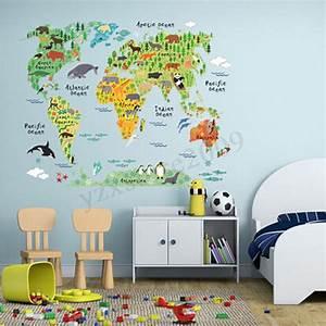 Wandtattoo Weltkarte Kinder : wandtattoo weltkarte tier aufkleber wandsticker kinderzimmer arbeitszimmer xl ebay ~ Eleganceandgraceweddings.com Haus und Dekorationen