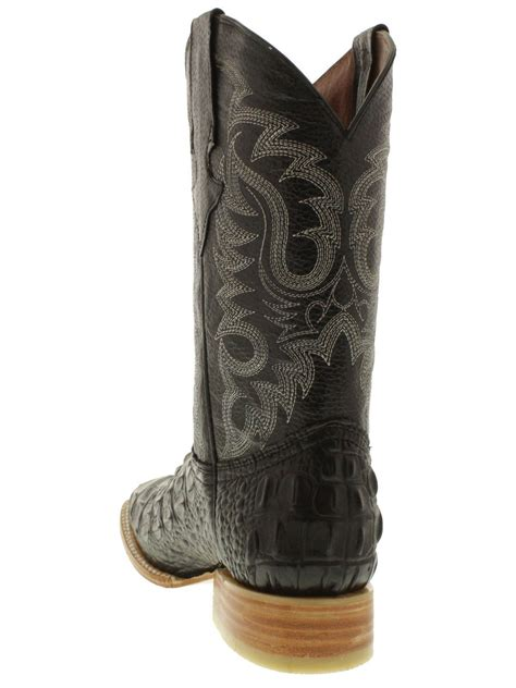 Men Black Crocodile Alligator Back Cowboy Boots Square