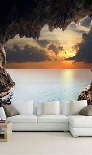 3D Custom Photo Cave Opening Sunrise Sea Wallpaper ...