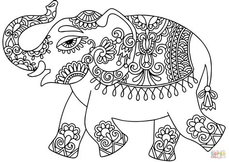 elephant  indian pattern coloring page