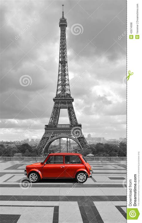 eiffel tower  car black  white photo  red