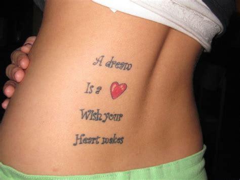 dream quote tattoo  waist  girls tattooshuntcom