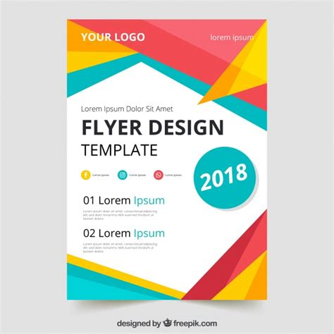 Colorful Flyer Psd Template Free Download by Colorful Geometric Flyer Template Vector Free Download