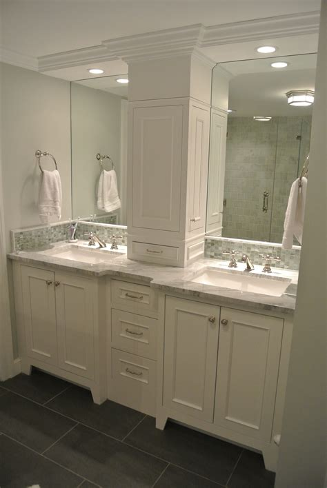bathroom vanity with tall cabinet not this one but this arrangement double vanity w