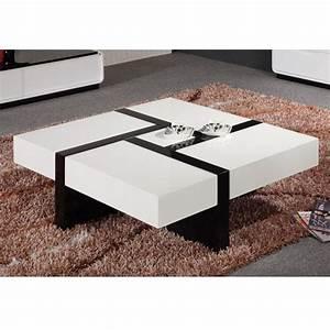 Table Basse Carrée Design : table basse design noir blancavec quatre tiroirs achat vente table basse table basse carr e ~ Teatrodelosmanantiales.com Idées de Décoration