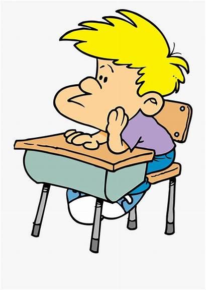 Boy Cartoon Thinking Student Bored Transparent Desk