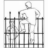 Fence Climbing Cemetery Coloring Halloween Printable sketch template