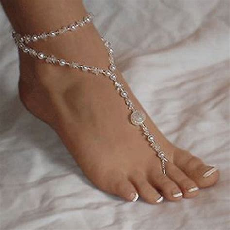 Hot Foot Jewelry Pearl Anklet Chain Barefoot Sandal Bridal. Thin Solid Gold Bangle. Index Finger Rings. Original Necklace. Fabric Bracelet. Curb Link Bracelet. Name Engraved Rings. Black And White Pendant. Skinny Diamond Bangle