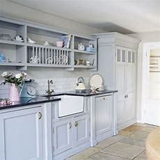 Pale Blue Country Kitchen   Decorating  Housetohomecouk
