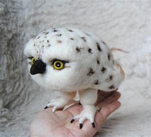 Needle Felted Baby Snowy Owl READY TO SHIP by willane on Etsy