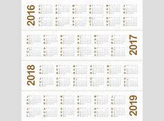Calendar 2016 2017 2018 2019 — Stock Vector © dolphfynlow