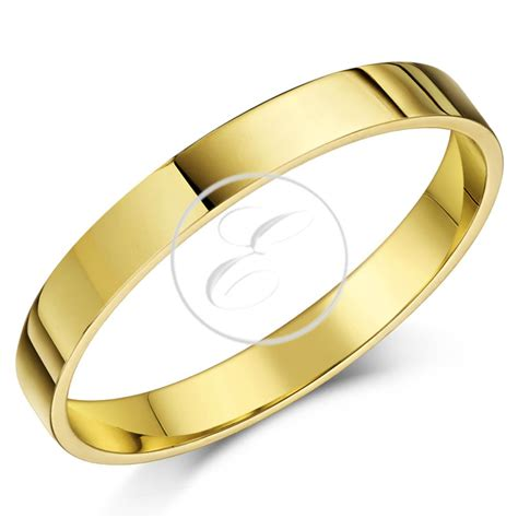 9ct yellow gold ring flat court shaped wedding ring band