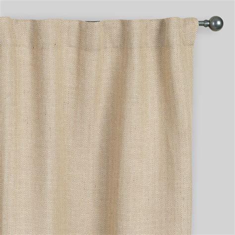 herringbone jute sleevetop curtains set of 2