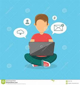 Computer User Man Isolated Icon Stock Vector - Image: 69357136