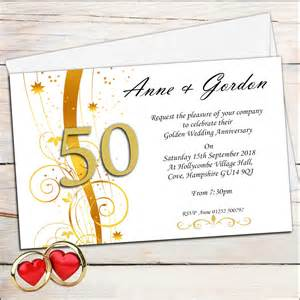 golden wedding anniversary invitations 10 personalised golden wedding anniversary invitations n2