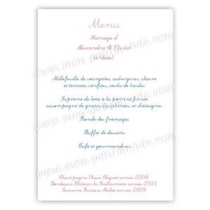 menus de mariage menu mariage simple birds menu de mariage birds mon petitmonde